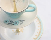 Two tiered Tiffany Blue tea stand made from Vintage china -  Alice in Wonderland Themed party or wedding - FREE SHIPPING