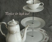Custom listing for Rosie - 3 Tiered Tea Stand in silver and gray - great for High Tea Party - Free Shipping to US