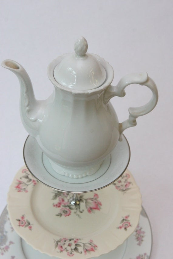 Three tiered tea stand in pink and silver with large teapot topper - FREE SHIPPING
