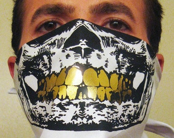 White Bandana Black Skull Mask with all Gold Grillz Teeth bling swag rag scarf urban fashion