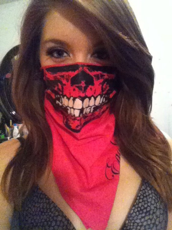 Fuchsia Neon Pink Bandana Skull Face Mask with Glow in the Dark Teeth Festival Gear