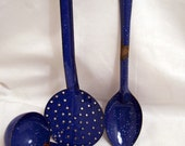 Vintage Blue Speckled Enamel Graniteware Kitchen Spoons, Dipper
