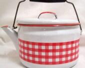 Vintage Enamel Kettle, White and Red, Tea Kettle