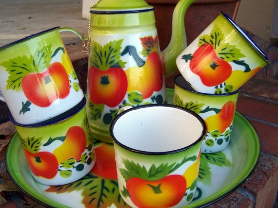 RESERVED for Marie - Vintage Enamel Coffee or Teapot with 5 Cups, Fruit and Vegetable Motif