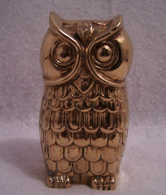 Vintage Brass Owl Paperweight or Figurine