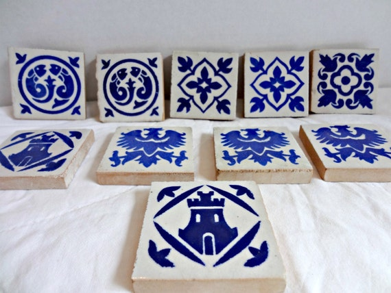 Vintage Glazed Tiles in Blue and White