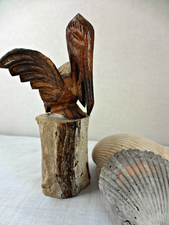 Hand Carved Wood Pelican By Abbysfabric On Etsy