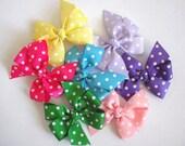 You Pick - Set of 3 Polka Dot Pinwheel Bows - 15 Different Colors - Pinwheel Hair Clips - Hair Bows - Polka Dot Bows - No Slip Grip Bows