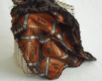 Football Travel Blanket with Brown Minky Swirl - Football Lovey - Baby Boy Lovey - Football Security Blanket - Minky Security Blanket