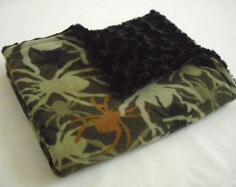 Spider Baby Blanket with Black Minky Swirl - Baby Boy Blanket - Baby Blanket - Spider Blanket - Boy Crib Blanket - Minky Baby Blanket