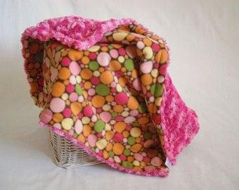 Multi Color Polka Dot Travel Blanket with Fuchsia Minky Swirl - Polka Dot Lovey - Baby Girl Lovey - Polka Dot Security Blanket - Lovey