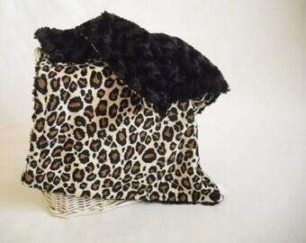 Leopard Minky Travel Blanket with Black Minky Swirl - Pink Leopard Lovey - Security Blanket - Leopard Lovey - Minky Lovey - Minky Leopard