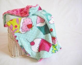 Cupcake Travel Blanket with Fuchsia Minky Swirl - Cupcake Lovey Blanket - Security Blanket - Baby Girl Lovey - Baby Girl Security Blanket