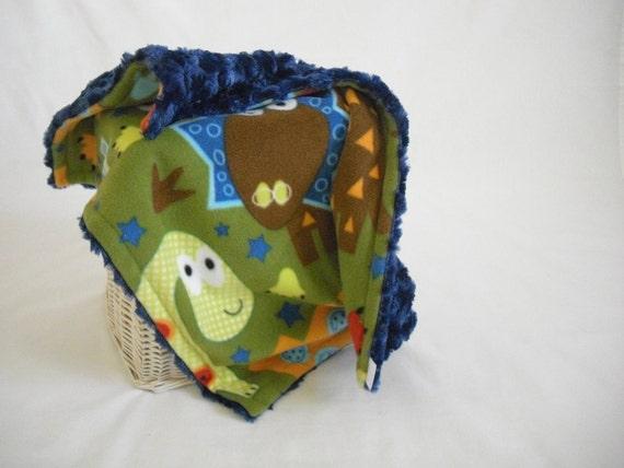 Dinosaur Travel Blanket with Blue Minky Swirl
