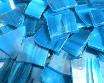 Stained Glass Mosaic Tiles in Deep Teal Blue - 1/2 Pound