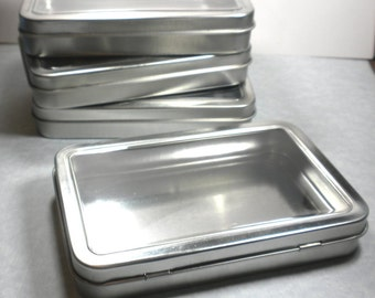 Window Tins - Extra Large Hinged Rectangular - Use for your Pendants Magnets and other Gifts Favors and Goodies or Storage - Set of 100