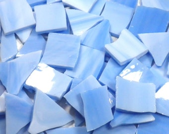 Stained Glass Mosaic Tiles in Cloudy Blue - 1/2 Pound