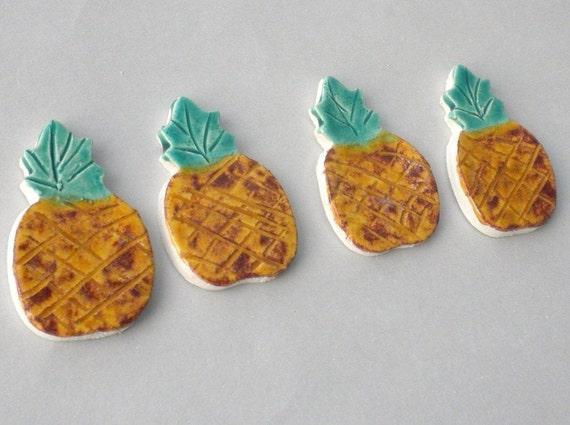 CLEARANCE SALE - Pineapples - Handmade Ceramic Mosaic Tiles - Set of 4 - Tropical Fruit