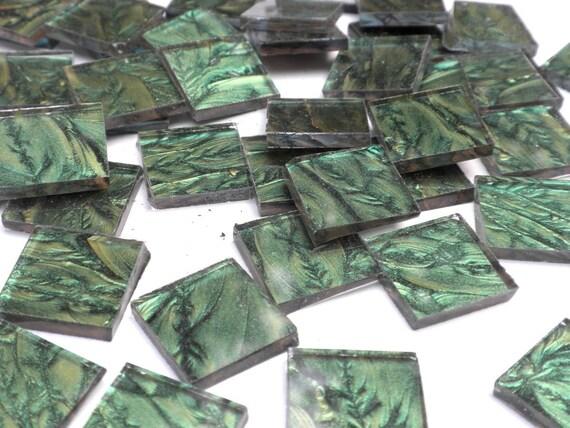 "Van Gogh Glass Tiles for Mosaics - 3/4"" in Metallic Green - Set of 25"