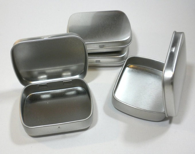 Small Mint Tins with Hinged Top and Rounded Corners - Use for your Pendants Magnets and other Gifts Favors and Goodies - 100