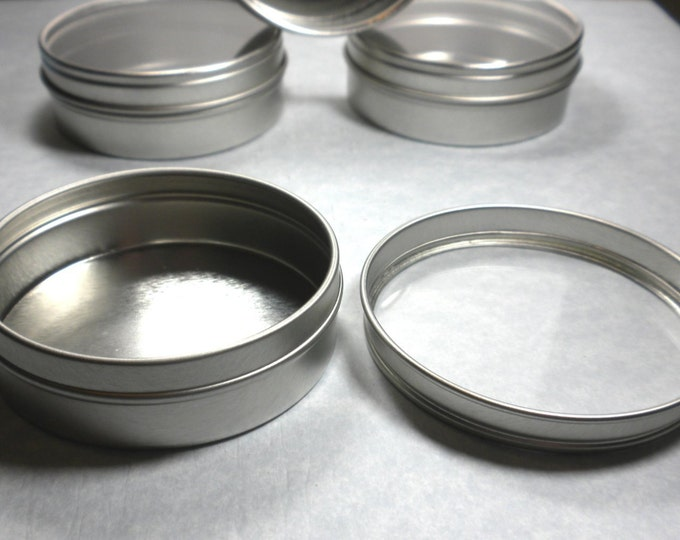 Round Tin with Clear Lid - 2.5 ounces Circle Food Grade and Seamless - Use for your Pendants Magnets and Gifts Favors and Goodies - Just 1