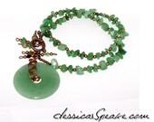 FREE S&H - Aventurine Gemstone Chip / Donut Necklace with Antique Copper Elements