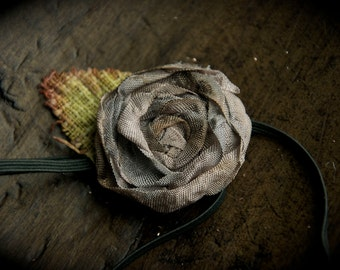 Single distressed rose headband hair clip in dove gray