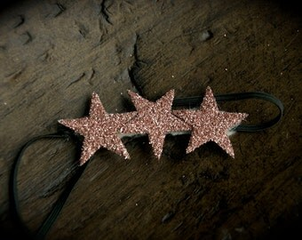 small TRIPLE STAR headband hair piece clip with PURE german glass glitter pick your color fits all ages