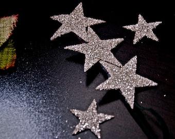 Triple Glass Glitter star skinny headband hair clip in SILVER SO CUTE