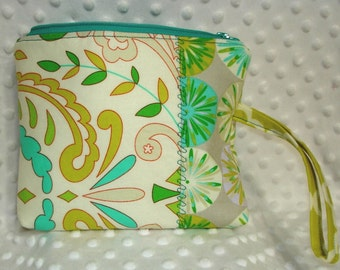 Zip Top Cosmetic Case Pouch with Wristlet Strap
