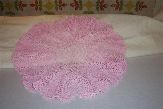 Crocheted pink doily large round Price Reduction