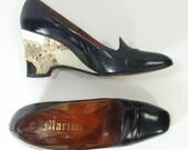 platform wedge shoes womens 6.5 AA navy blue & bone snake skin leather 1970s  6 1/2