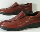 ecco loafers shoes womens 7 m brown euro 38 leather comfort walking