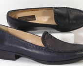 sesto meucci blue loafers womens 8 n shoes leather italy made woven