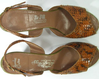 slingback sandals womens 5.5 cobra snake skin shoes brown pumps strappy vintage heels vintage