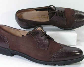 ferragamo wingtip shoes womens 7.5 aaa 3A brown salvatore leather suede