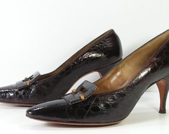 vintage stiletto shoes womens 8.5 AA brown pointy toe pumps heels leather 1950's