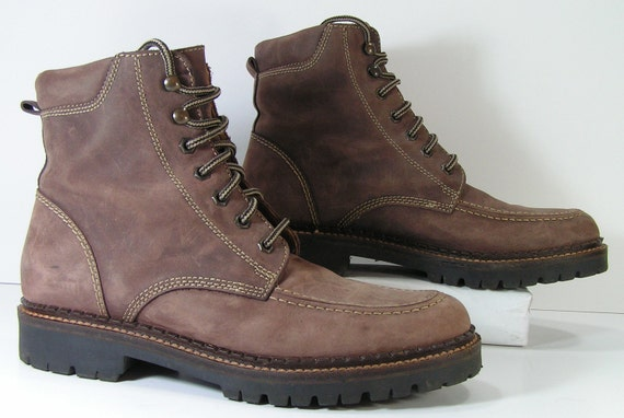 ankle boots womens 9 B M brown granny lacer lace up leather vintage