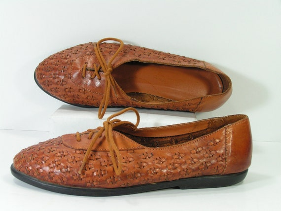 vintage woven flats shoes womens 7 m b caramel brown leather
