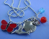 Hand Stamped Custom BUTTERFLIES AND BIRDS Necklace for Children