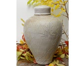 Organic Cream Wood Fired Jar, slip detail, shino crater glaze, Stoneware