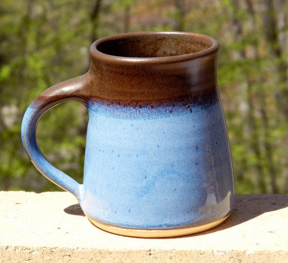 Blue and Chocolate Mug, 20oz Stoneware,Microwave friendly, 10% Off