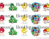 M&M candy bottle cap images sheet 1 inch circle 4x6 hair bow necklace jewelry