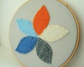 Embroidery Hoop Art , Flower Petals in Blue, Gray, Orange, and White
