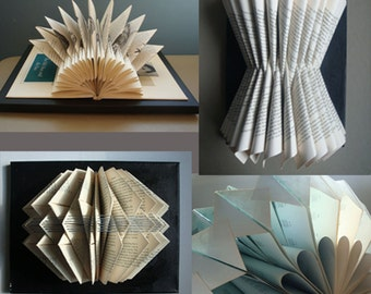 Custom Book Sculpture, Made to Order, Original Art, Unique Wall Art, Book Art, Custom Art, Paper Sculpture, Book Folding, Origami Wall Art