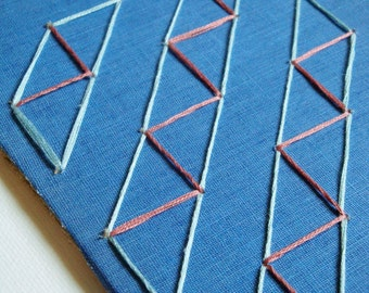 Embroidered Book Cover Art, Geometric Pattern