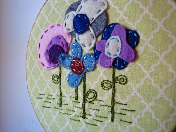 Embroidery Hoop Art, Girls Room Decor, Felt Flowers and Embroidery