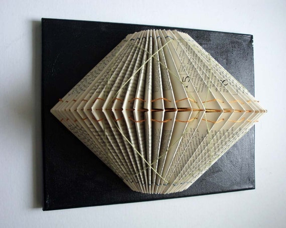 Folded Book Sculpture with Embroidery