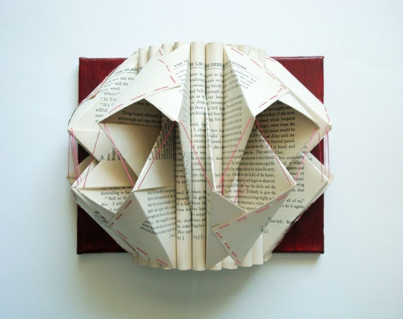 Folded Book Sculpture Embroidered