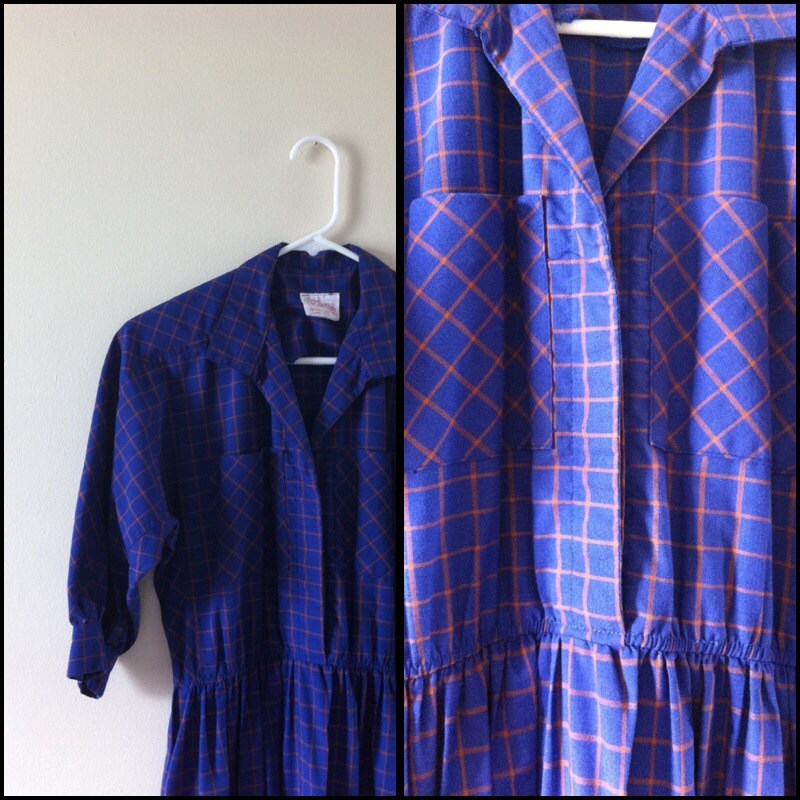 Purple and gold plaid button up shirt dress by for Purple plaid button up shirt